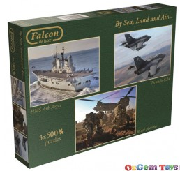 By Sea Land and Air Jumbo Jigsaw Puzzle 3 x 500 Piece Falcon