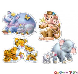 Castorland Jungle Babies Four Pack Shaped Jigsaw Puzzles Large Pieces