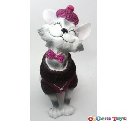 Cat in Purple Jumper and Hat Ring Jewellery Holder Display Stand