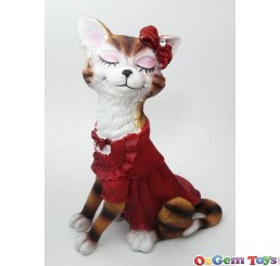 Cat in Red Dress Ring Jewellery Holder Display Stand