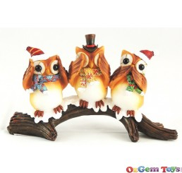 Hear Speak and See No Evil Owls Christmas Decorative Ornament