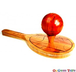 Tennis Racket and Ball Wooden Puzzle