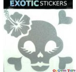 Metallic Silver Hibiscus Chick Skull Left car boat decal sticker