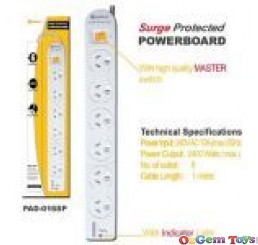 6-way Power Board Surge Protection
