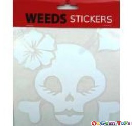 White Skull Hibiscus Flower Car Decal Sticker