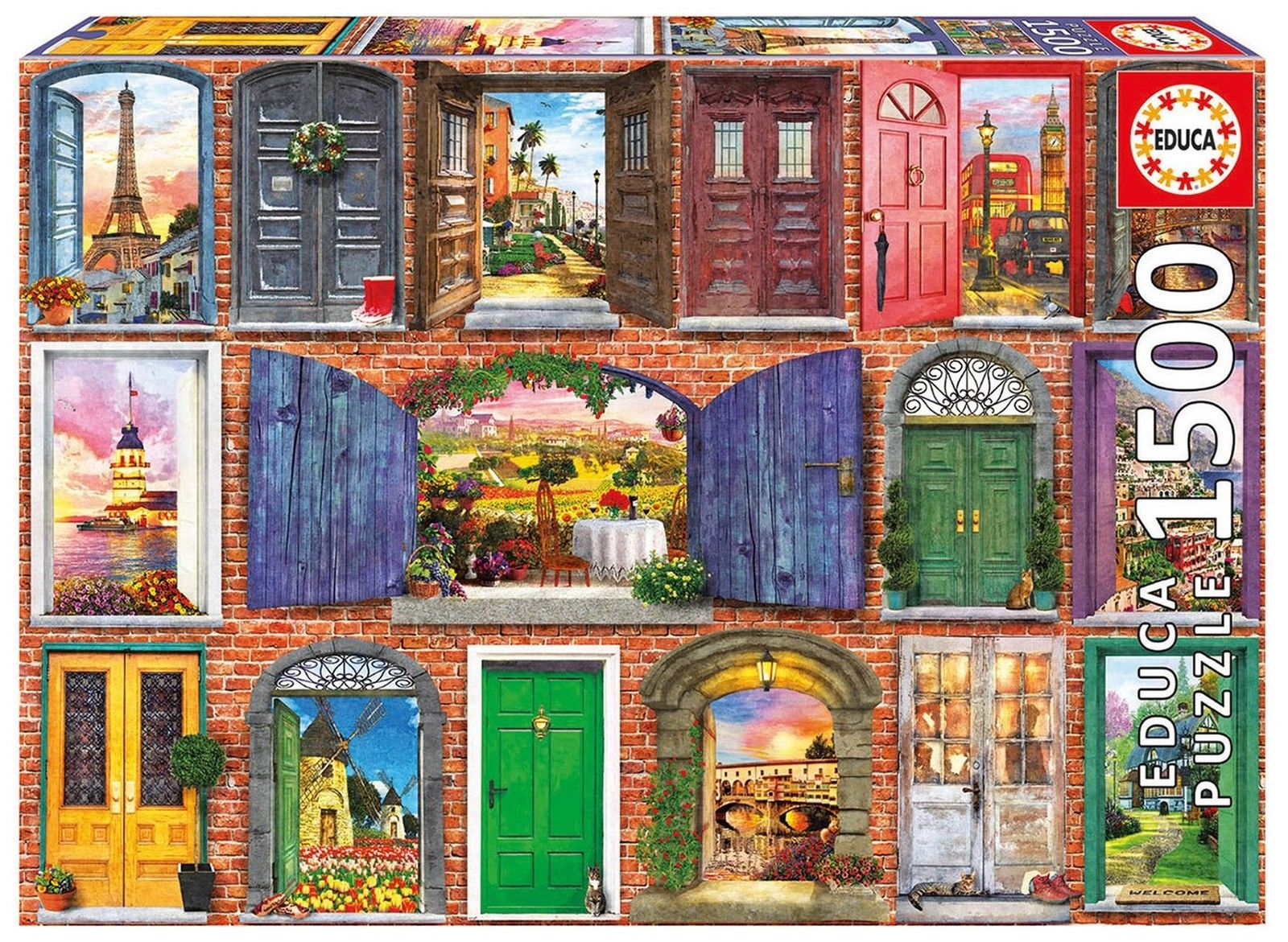 educa 17118 doors of europe 1500 piece jigsaw puzzle. Black Bedroom Furniture Sets. Home Design Ideas
