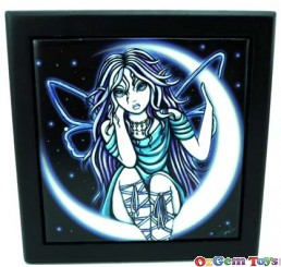 Heavenly Angel Fairy Sitting On The Moon Trinket Tile Box