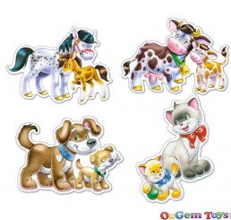 Castorland Animals with Babies Four Pack Shaped Jigsaw Puzzles Large Pieces