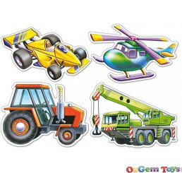 Castorland Various Vehicles Four Pack Shaped Jigsaw Puzzles Large Pieces