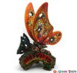 Decorative Welcome Butterfly on Branch Resin Statue