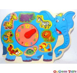 Elephant Shaped Clock Wooden Jigsaw Puzzle