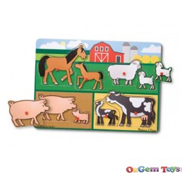 Farm 8 pc Peg Puzzle Wooden Jigsaw Puzzle by Melissa and Doug