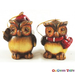 Owl Tree Hanger Ornaments Set of 2
