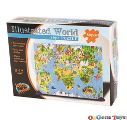 Self Standing Illustrated World Jigsaw Puzzle 80 Piece