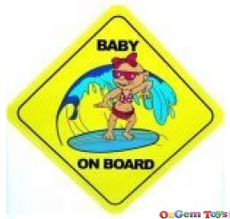 Cool Baby On Board Baby Surfing A Wave Car Sticker
