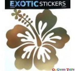 Gold Mylar Hibiscus Flower Left car boat decal sticker