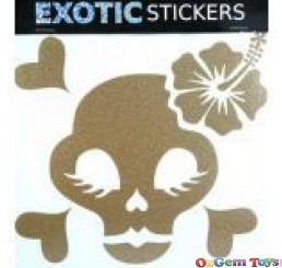 Metallic Gold Hibiscus Chick Skull Right car boat decal sticker