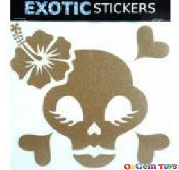 Metallic Gold Hibiscus Chick Skull Left car boat decal sticker