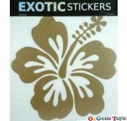 Metallic Gold Hibiscus Flower Right car boat decal sticker
