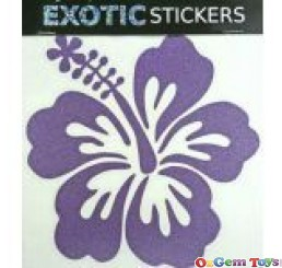 Metallic Cobalt Hibiscus Flower Left car boat decal sticker