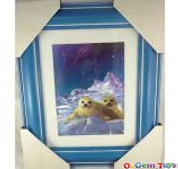 Pretty Seal and Snow Foil Print Picture in Frame