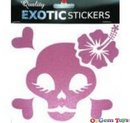 Metallic pink skull hibiscus flower right, car decal sticker