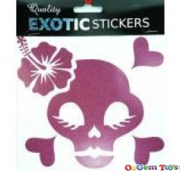 Metallic pink skull hibiscus flower left, car decal sticker
