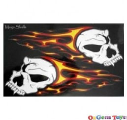 Huge skulls & flames stickers, car, boat, motorbike, tank